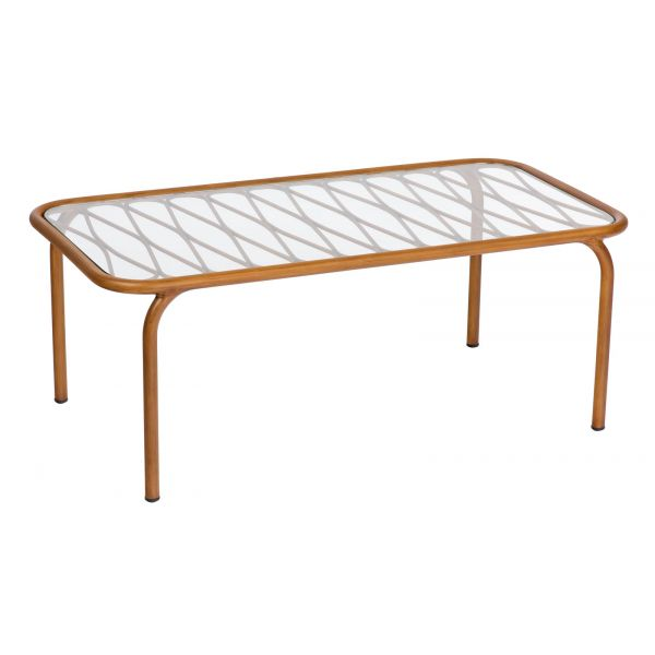 Woodard Cane Coffee Table with Glass Top
