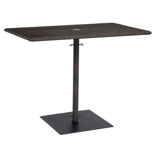 S593838 Woodard All-Weather Rectangular Umbrella Counter Height Table in Coffee