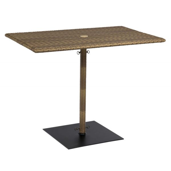 S593838 Woodard All-Weather Rectangular Umbrella Counter Height Table in Mocha