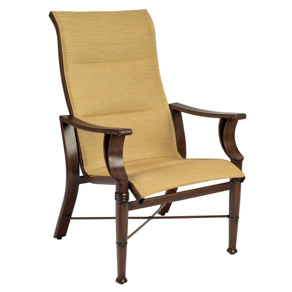 Arkadia Padded Sling High-Back Dining Arm Chair