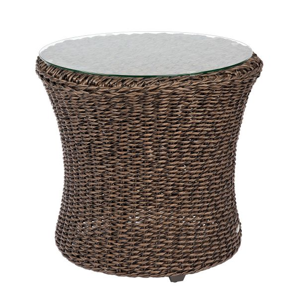 Isabella End Table with Glass Top in dark brown hyacinth weave
