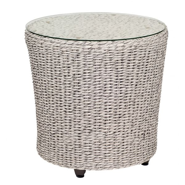 Isabella End Table with Glass Top in off-white hyacinth weave