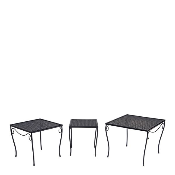 Mesh Nest of Three Square End Tables