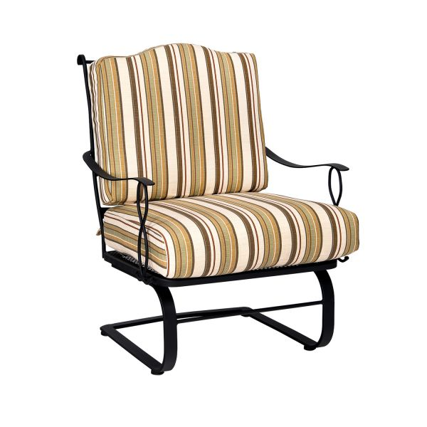 Woodard Direct Rialto Striped Cushioned C Spring Lounge Chair