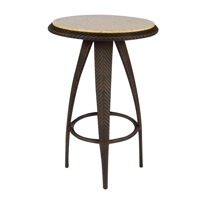 Bali Bar Table With Stone Top Woodard