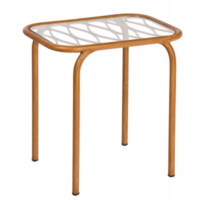Cane End Table with Glass Top