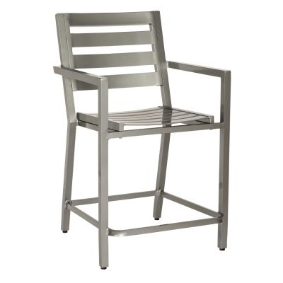 Palm Coast Slat Counter Stool with Arms