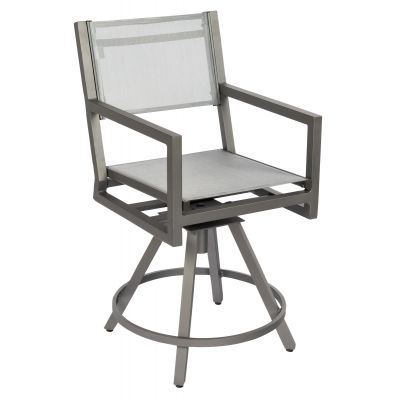 Palm Coast Sling Swivel Counter Stool with Arms