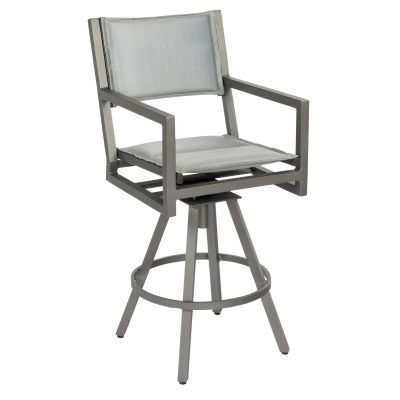 Palm Coast Padded Sling Swivel Bar Stool with Arms