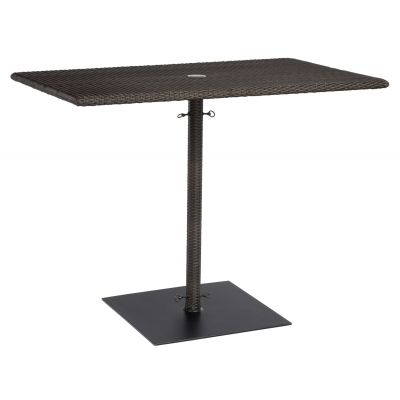 All-Weather Rectangular Umbrella Counter Height Table with Weighted Base