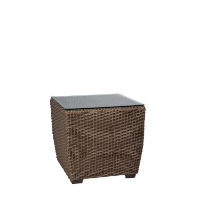 Augusta Woven Square End Table with Glass Top