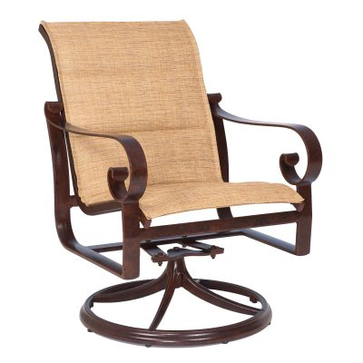 Belden Padded Sling Swivel Rocking Dining Armchair