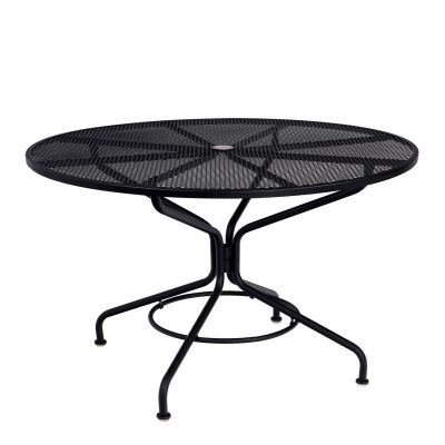 "Café Series Textured Black Contract+ 48"" Round Mesh Top Umbrella Table"