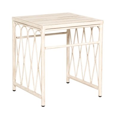 Cane End Table with Slatted Top