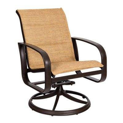 Cayman Isle Padded Sling Swivel Rocking Dining Armchair