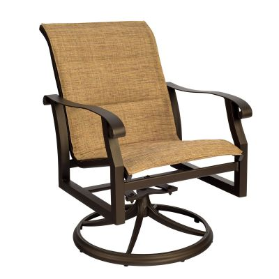 Cortland Padded Sling Swivel Rocking Dining Armchair