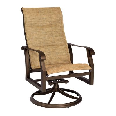 Cortland Padded Sling High Back Swivel Rocking Dining Armchair