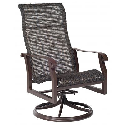 Cortland Woven High Back Swivel Rocking Dining Armchair