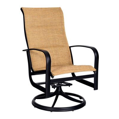 Fremont Padded Sling High Back Swivel Rocking Dining Armchair