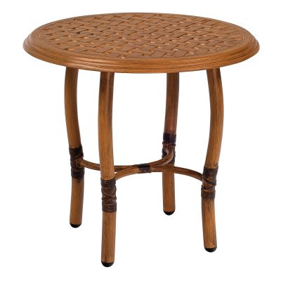 Glade Isle Tables Round End Table with Thatch Top