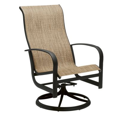 Fremont Sling High Back Swivel Rocking Dining Armchair