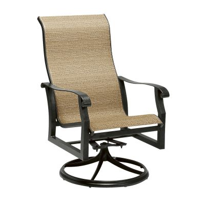 Cortland Sling High Back Swivel Rocking Dining Armchair