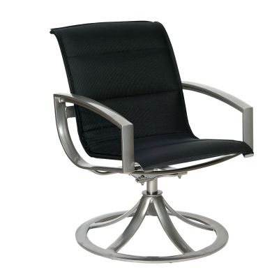Metropolis Padded Sling Swivel Dining Armchair