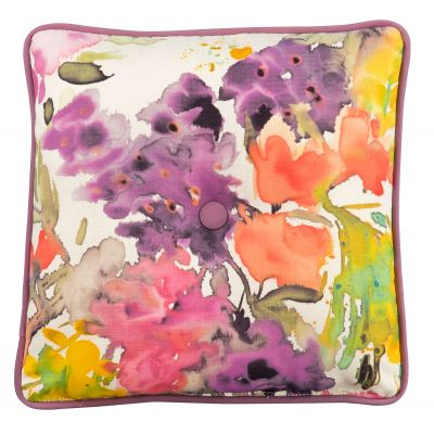 Square Throw Pillow with Button