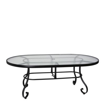 "Ramsgate 42"" x 74"" Umbrella Table - Obscure Glass"