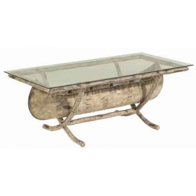 River Run Canoe Coffee Table with Glass Top