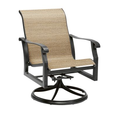 Cortland Sling Swivel Rocking Dining Armchair