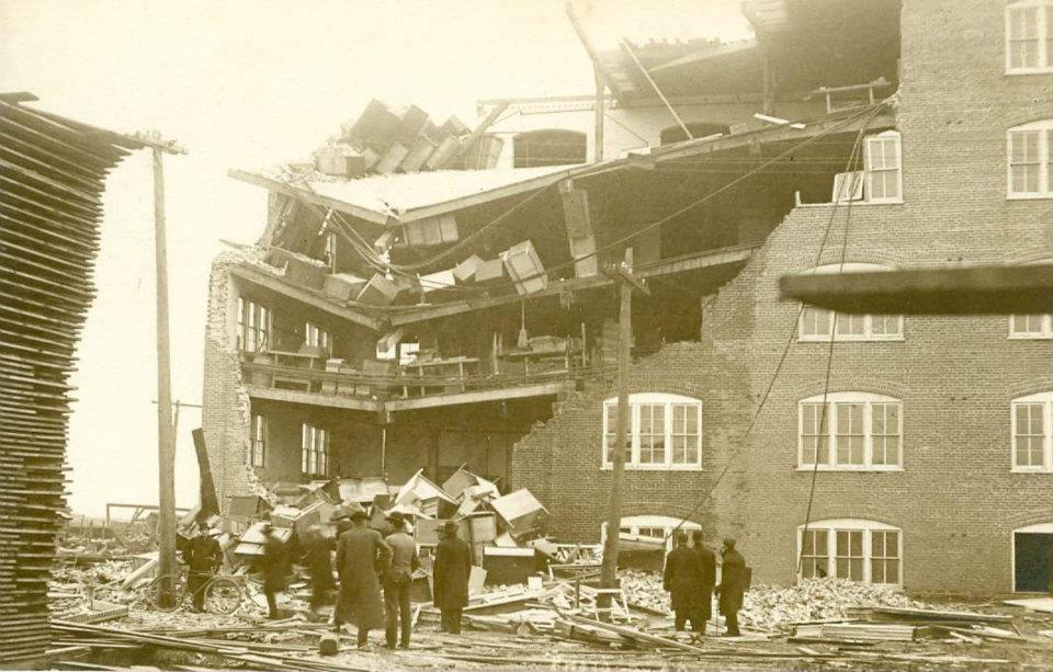 Damage to Woodard Furniture Factory from 1911 tornado